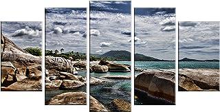 "Designart MT14777-373 Rocky Beach with Dramatic Sky Large Seashore Glossy Metal Wall Art, Brown, 60x32"""
