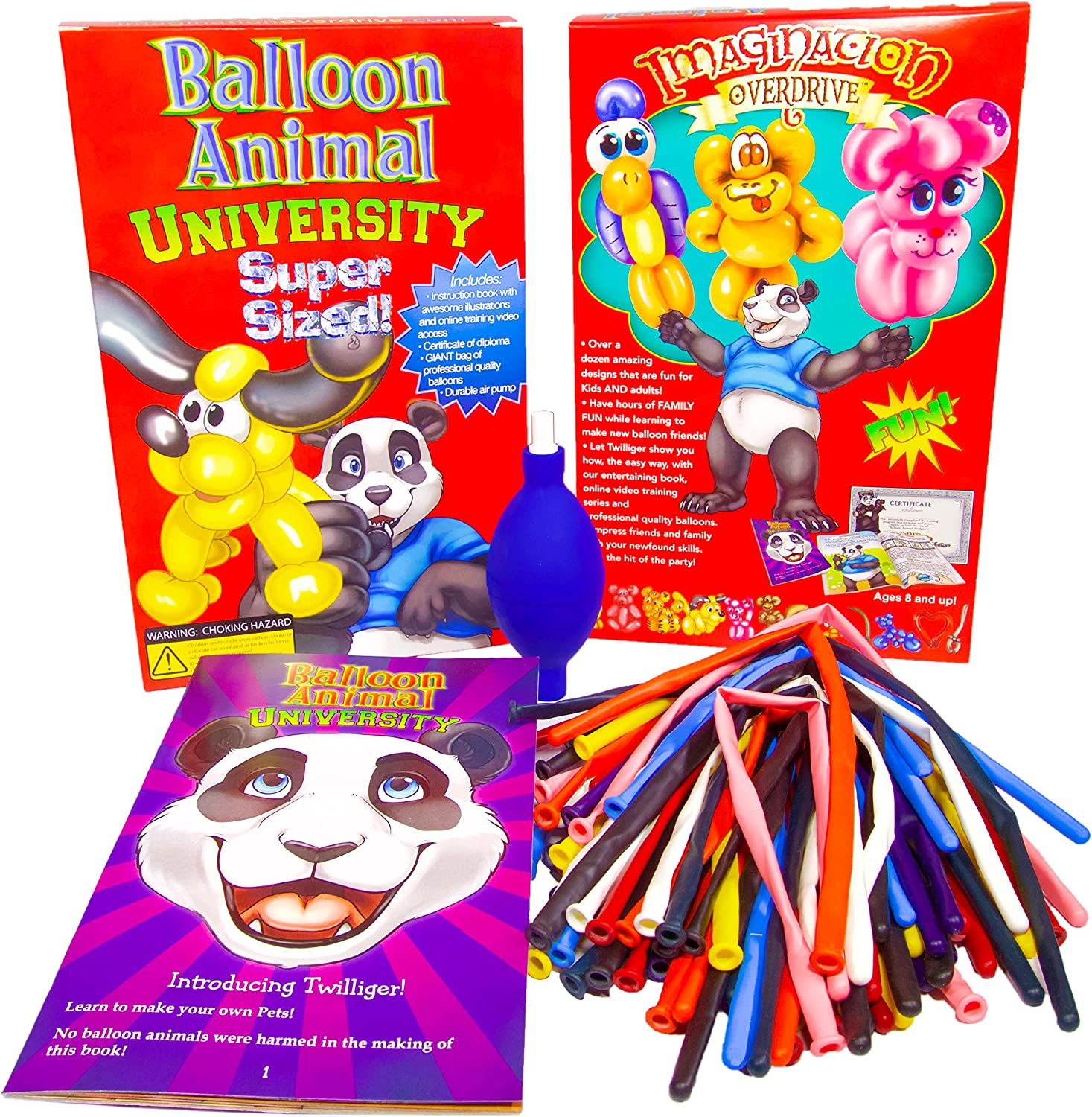 Balloon Animal University SUPERSIZED Kit with Qualatex 50 Count Traditional Assortment Balloons, Air Pump, Book, and Online Video Training Series. Learn to Make Balloon Animals Starter Kit