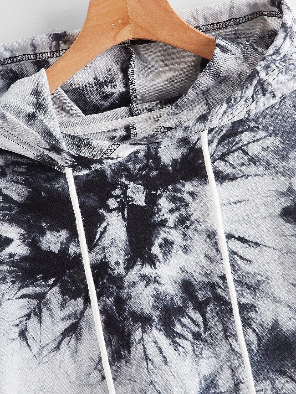 SOLY HUX Women's Plus Size Tie Dye Drawstring Pocket Hoodie Long Sleeve Sweatshirt
