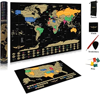 Scratch Map World Poster with USA Map | 24x17 | Custom Designed Scratch Map with Wonders of the World | Travel Scratch Map Posters and Accessories | US States Outlined | Perfect for Travelers