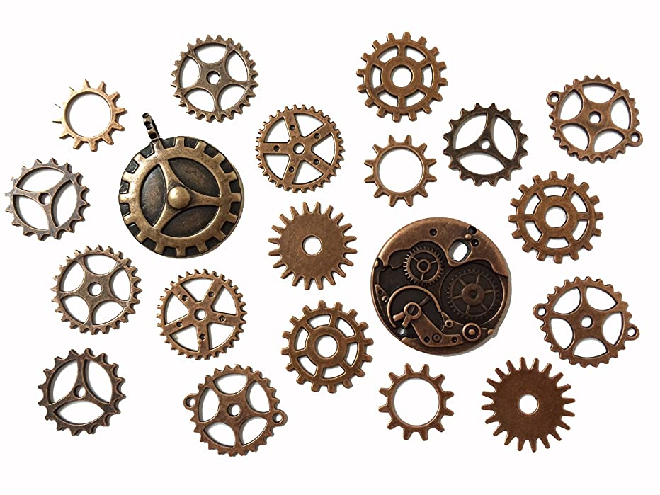 PEPPERLONELY Brand 20PC Red Copper Metal Alloy Steampunk Gear Charms Cog Connectors Pendants Jewelry Findings