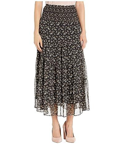 LAUREN Ralph Lauren Tiered Georgette Peasant Skirt (Polo Black Multi) Women