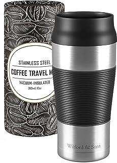 Termo de café para llevar de acero inoxidable 360 ml   Taza de café térmica sin BPA de doble pared, aislado al vacío, antigoteo, apto para lavavajillas   Termo de viaje + Taza de té reutilizable