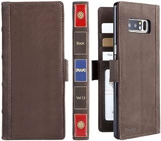 iPulse Vintage Book for Galaxy Note 8 Genuine Leather Case Handmade Flip Wallet Case for Samsung Gallaxy Note 8 - Retro Brown