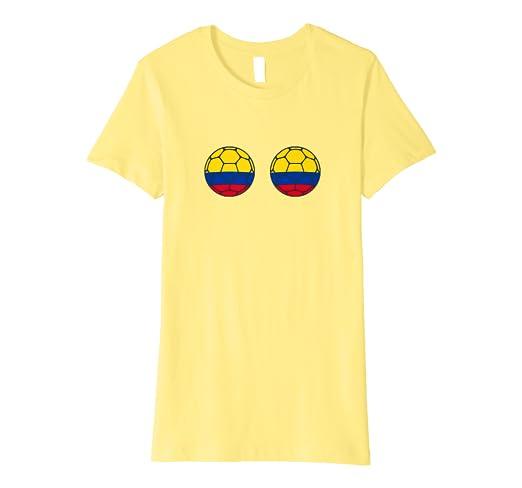 Amazon Com Womens Colombia Soccer Flag Boobs Funny Football