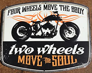 Sunoco gas Four Wheels Move the Body - Two Wheels Move the Soul - Motorcycle Tin Sign