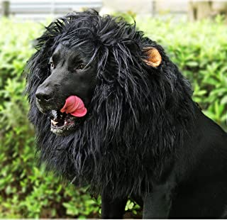 Onmygogo Lion Mane Wig for Dogs with Ears, Funny Pet Costumes for Halloween Christmas (L, Black)