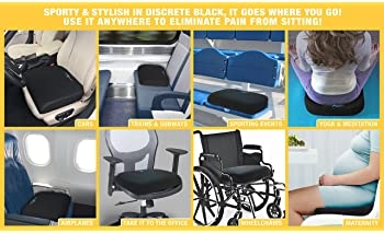 Large Seat Cushion with Carry Handle and Anti Slip Bottom Gives Relief from Back Pain (1PACK)