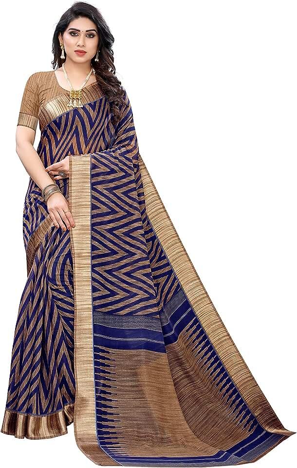 Indian Winza Designer Women's Linen Cotton Saree With Blouse Saree