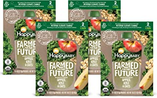 Happy Baby Organics & Regenerative Stage 2 Baby Food, Apples Kale & Oats, 4 Ounce (Pack of 16)