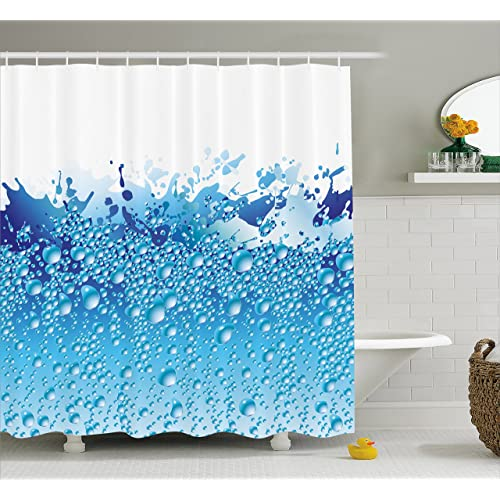 Ambesonne Modern Decor Shower Curtain, Aquarium Like Water Image with Bubbles Splashes Drops Print,