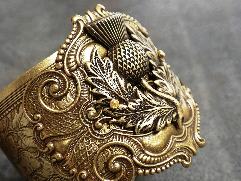 Tucson Mall Scotland Thistle Bracelet Scottish Quantity limited Jewelry Brass Outlander Cuff