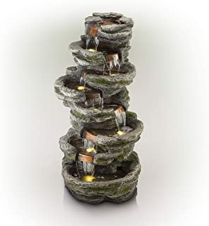 Alpine Corporation 8-Tier Rainforest Rock Water Fountain with LED Lights - Outdoor Water Fountain for Garden, Patio, Deck, Porch - Yard Art Decor