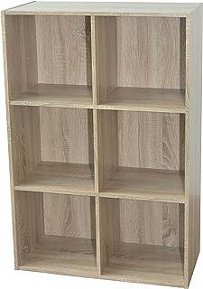 Alsapan Compo Meuble de Rangement 6 Casiers Bibliothèque Etagères Cubes Chêne - 80 x 62 x29.5 cm