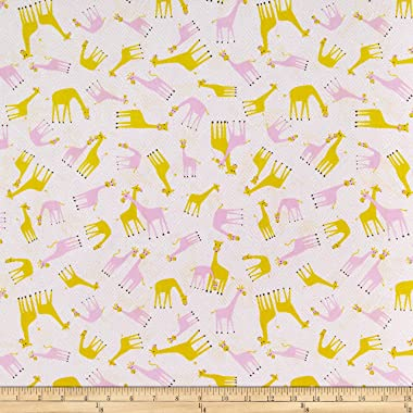 Windham Fabrics Whistler Studios Stand Tall Tossed Baby Giraffes Pink, Fabric by the Yard