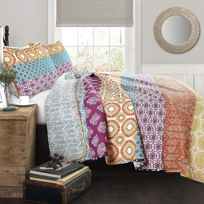 Lush Decor Bohemian Striped Quilt Reversible 3 Piece Bedding Set King Fuchsia & orange