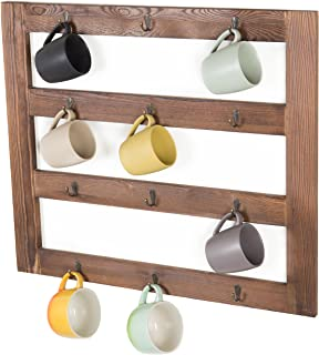 MyGift Wall-Mounted Rustic Dark Brown Wood 12-Hook Coffee Mug Hanging Rack