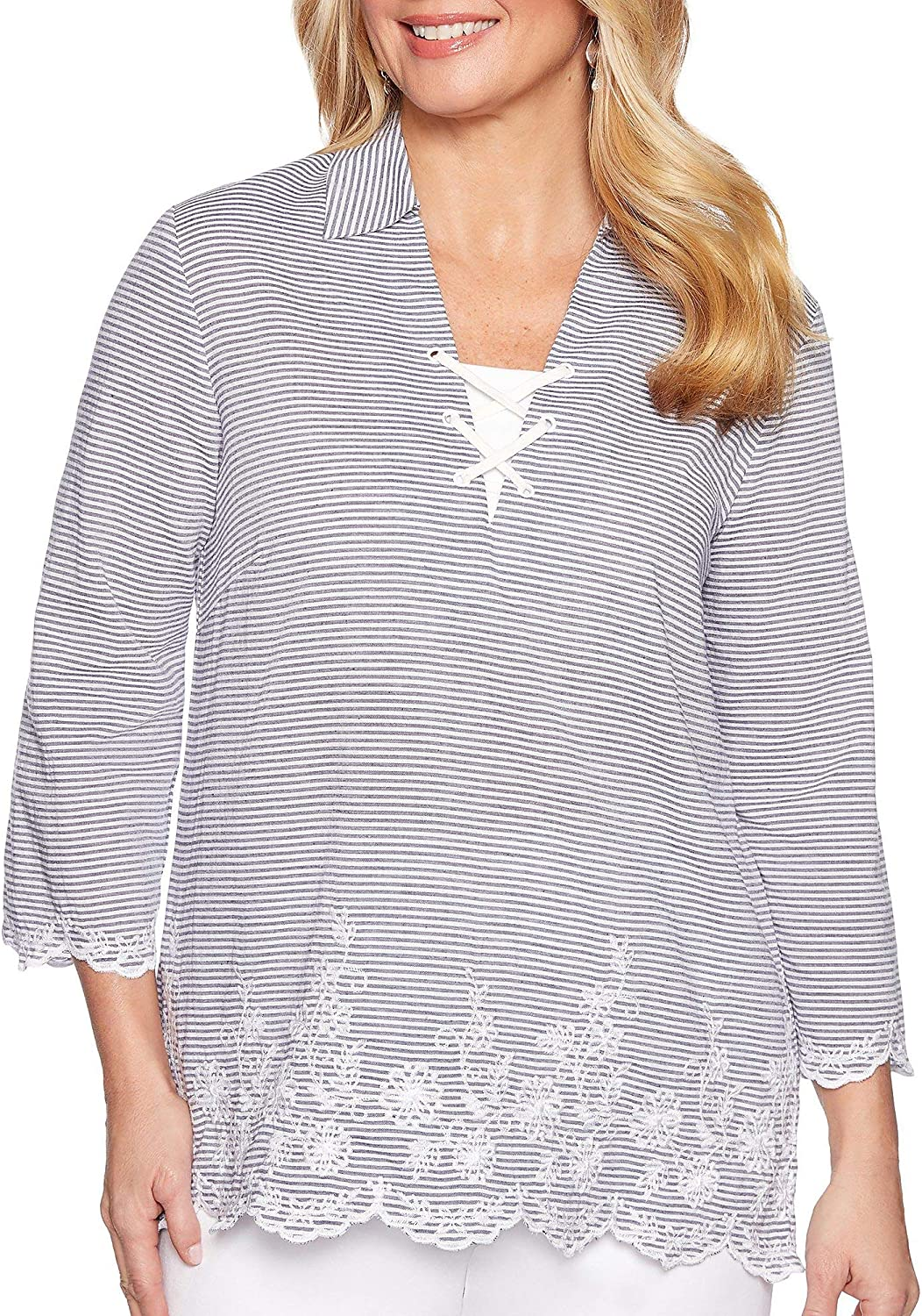 Alfred Dunner Womens Smooth Sailing Striped Floral Top