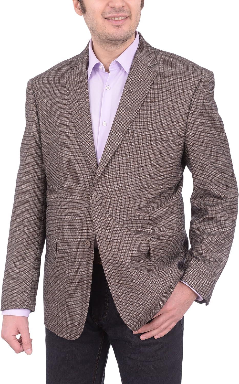 Lorenzo Bruno Classic Fit Brown Basket Weave Two Button Blazer Sportcoat