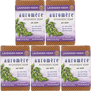 Auromere Ayurvedic Bar Soap, Lavender Neem - Eco Friendly, Handmade, Vegan, Cruelty Free, Natural, Non GMO (2.75 oz), 5 pack