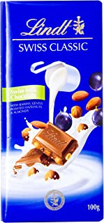Lindt Swiss Classic Milk Raisin Nut Chocolate, 100 gm