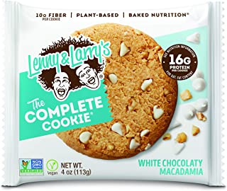 Lenny & Larry's The Complete Cookie, White Chocolate Macadamia, Soft Baked, 16g Plant Protein, Vegan, 4-Ounce Cookies (Pac...