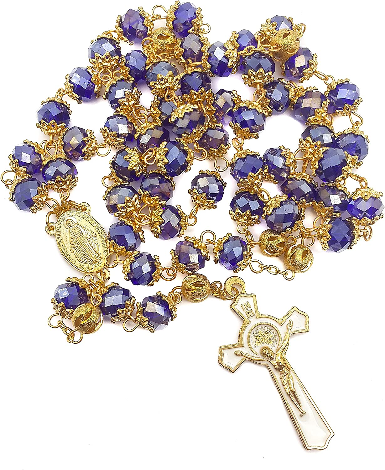 Nazareth Store Saint Benedict Max 55% OFF Blue Beads In a popularity Gold Pl Rosary Necklace