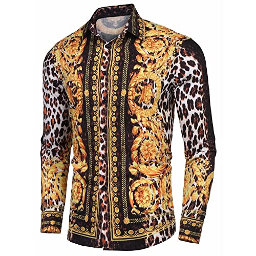 22985e09 Mens Long Sleeve Shirt Luxury Design Print Hipster Gold Shirt