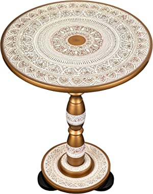"""Hand-Crafted Round Side Accent Table for Living Room or End Table for Bedroom by EXCESSORIZE THAT- Sangemarmar White (19"""" Tal"""