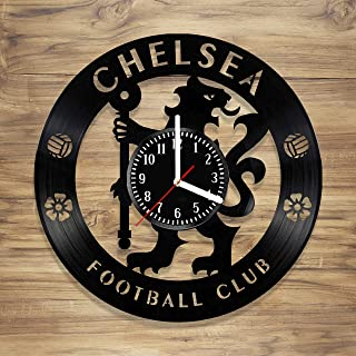 Chelsea F.C. Vinyl Record Wall Clock Football Club London Pensioners Perfect Decorate Home Style Unique Gift idea for Him Her (12 inches)