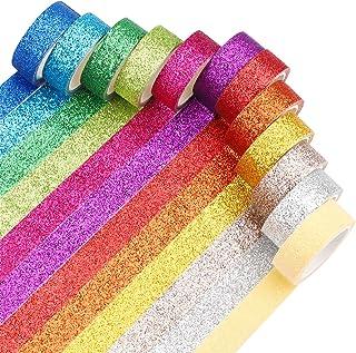 Lot de 12 rouleaux de ruban adhésif Washi à paillettes arc-en-ciel et macaron pour bricolage, scrapbooking, artisanat, emb...