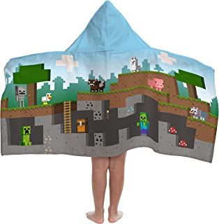 Jay Franco Minecraft Overworld Adventure Hooded Bath/Pool/Beach Towel, Blue