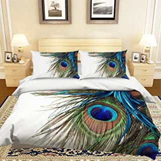 AJ WALLPAPER 3D Peacock Feather 780 Bedding Pillowcases Quilt Duvet Cover Set Single Queen King | 3D Photo Bedding, US Wendy (Single)