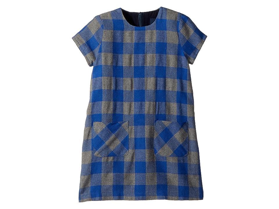 Toobydoo Flannel Check Shift Dress (Toddler/Little Kids/Big Kids) (Blue/Grey) Girl