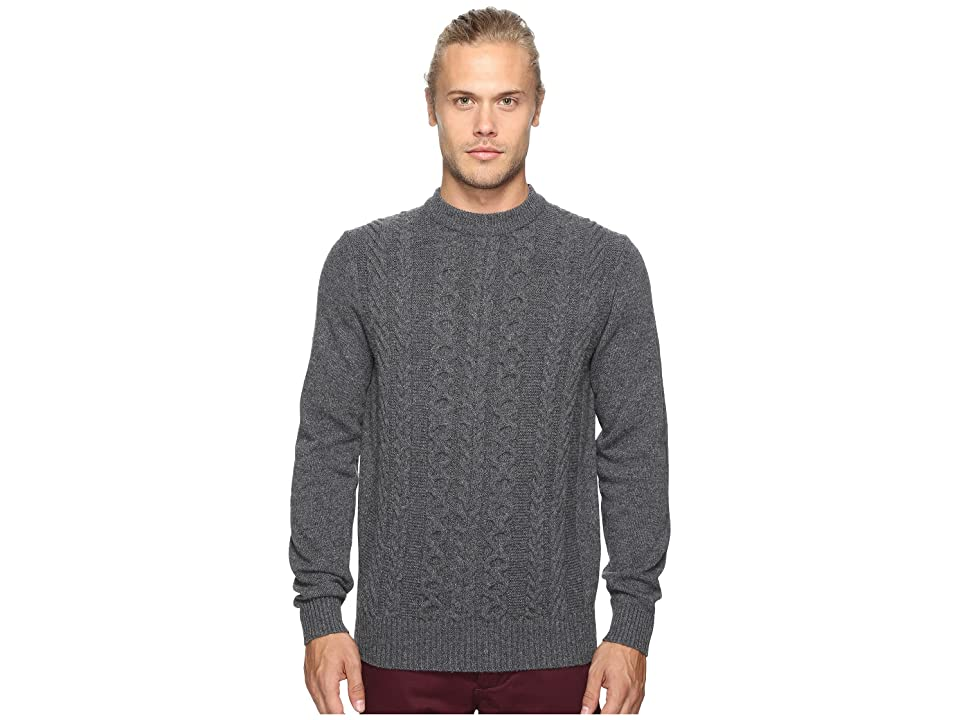 Ben Sherman Long Sleeve Cable Front Crew Neck Sweater (Concrete Marl) Men