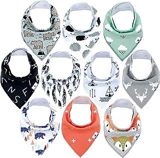 10-Pack Bandana Bibs Little Munchkins Handkerchief Bibs, Baby Drool Bibdanas, Organic Cotton, Super Absorbent, 10 Stylish ...