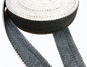 Black and White 10m roll by J A Milton Herringbone Webbing