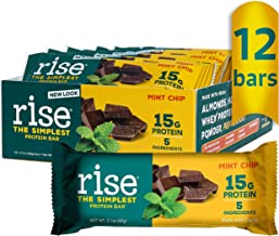 Rise Whey 15g Protein Bar, Mint Chocolate Chip, Healthy Breakfast & Snack Bar, 4g Dietary Fiber, 5 Natural Whole Food Ingr...