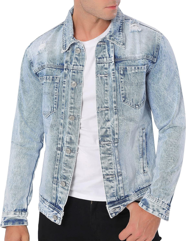 Mens Denim Jacket, Ripped Holes Distressed Jean Jackets for Men Motorcycle Jean Trucker Coat