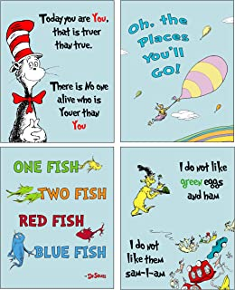 Dr Seuss Kids Photo Prints WallArt - Adorable Wall Decor for Bedrooms Nursery Play Room - Blue Pastel Background (also available in PINK green or Yellow Background)