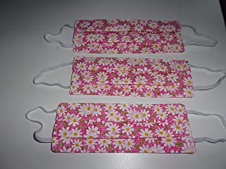 Face Coverings Cloth Handmade White and Pink Daisys Floral Flowers Set of Three - 3 Layers Washable Reusable Reversible Made and Ships From Montana