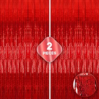 XtraLarge Iridescent Red Fringe Curtain - 3.2x10 feet | Pack of 2 | Metallic Red Backdrop for Red Party Decorations | Holo...