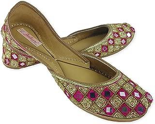 Fulkari Prime Sunshine Women's Soft Leather Bite and Pinch Free Punjabi Flat Ladies Jutti Ethnic Mojari Shoe