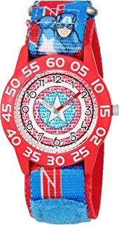 MARVEL Boys' Captain America Analog-Quartz Watch with Nylon Strap, Blue, 16 (Model: W003220