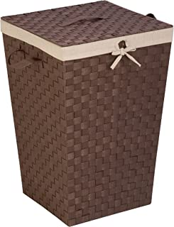 Honey-Can-Do HMP-02980 Woven Strap Hamper with Liner and Lid, Java Brown