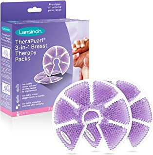 Lansinoh TheraPearl Terapia para mamas 3 en 1, paquete de 2 unidades