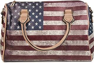 styleBREAKER USA Vintage Handtasche im Stars & Stripes Design, Bowling Tasche, Henkeltasche, Damen 02012014