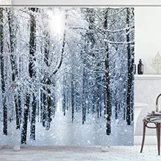 Ambesonne Winter Shower Curtain, Snow Covered Forest Idyllic Early Morning Scenery Seasonal Xmas Nature, Cloth Fabric Bathroom Decor Set with Hooks, 70