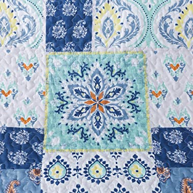 """Soul & Lane Poetry in Motion Lap Quilt - 50"""" x 60""""   Modern Patchwork Quilted Throw"""