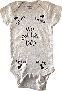 New Dad Gift Cute Baby Bodysuit Funny Baby Clothes Dad Directions Bodysuit